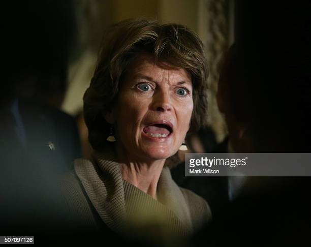 Sen Lisa Murkowski chairman of the Senate Energy and Natural Resources Committee speaks to the media after the weeklyÊSenate Policy Luncheon on...