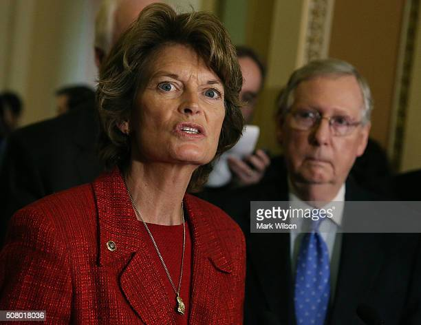 Sen Lisa Murkowski chairman of the Senate Energy and Natural Resources Committee speaks to the media about amendments to the Energy Bill while...
