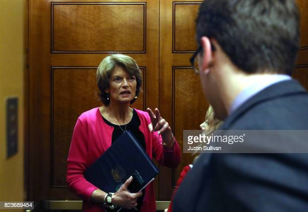 S Sen Lisa Murkowski gets on an elevator at the US Capitol before allnight voting July 27 2017 in Washington DC Senate Republicans are working to...