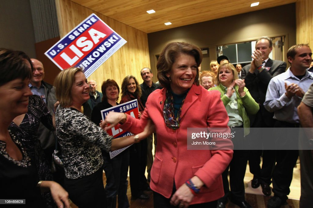 U.S. Sen. <a gi-track='captionPersonalityLinkClicked' href=/galleries/search?phrase=Lisa+Murkowski&family=editorial&specificpeople=3134392 ng-click='$event.stopPropagation()'>Lisa Murkowski</a> (R-AK) greets supporters during a results-watching party on November 2, 2010 in Anchorage, Alaska. Murkowski, defending her Senate seat as a write-in candidate, pulled into the lead in early results. If she wins, it would be the first time a write-in candidate has won a U.S. Senate seat since Strom Thurmond in 1954.