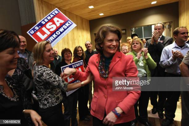 S Sen Lisa Murkowski greets supporters during a resultswatching party on November 2 2010 in Anchorage Alaska Murkowski defending her Senate seat as a...