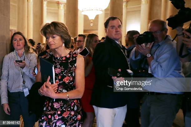 Sen Lisa Murkowski heads into a meeting where a new version of a GOP health care bill was unveiled to Republican senators at the US Capitol July 13...