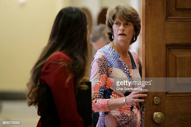 Sen Lisa Murkowski heads into the Senate Republican policy luncheon at the US Capitol August 1 2017 in Washington DC After failing to pass...