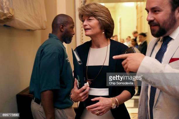 Sen Lisa Murkowski leaves a meeting of GOP senators in the US Capitol June 22 2017 in Washington DC Most Republican senators were given their first...