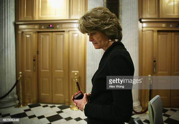 S Sen Lisa Murkowski leaves after a cloture vote on the Keystone XL Pipeline January 26 2015 on Capitol Hill in Washington DC The bill failed to...