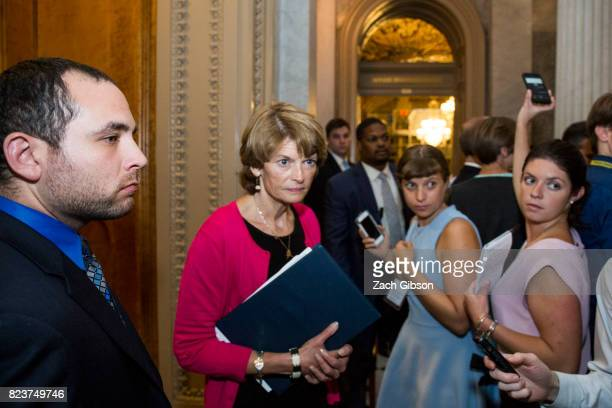Sen Lisa Murkowski leaves the Senate Chamber after a vote on a strippeddown or 'Skinny Repeal' version of Obamacare reform on July 28 2017 in...