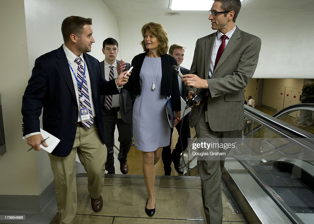 Sen. Lisa Murkowski, R-AK., makes her way to the Senate policy luncheons through the Senate subway in the U.S. Capitol on July 18, 2013.