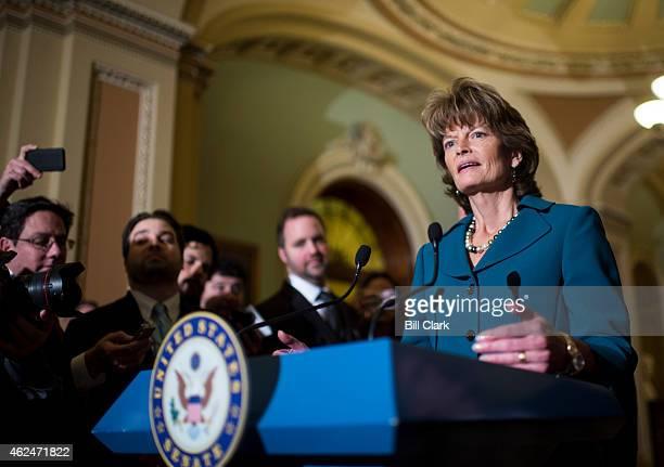 Sen Lisa Murkowski RAK speaks with reporters following the cloture vote on the Keystone pipeline on Thursday Jan 29 2015