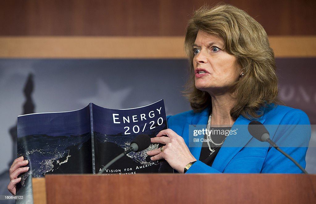 Sen. Lisa Murkowski, R-Alaska, ranking member on the Senate Energy and Natural Resources Committee, holds a news conference to discuss the release of the energy blueprint titled 'Energy 20/20: A Vision for America's Energy Future' on Monday, Feb. 4, 2013.