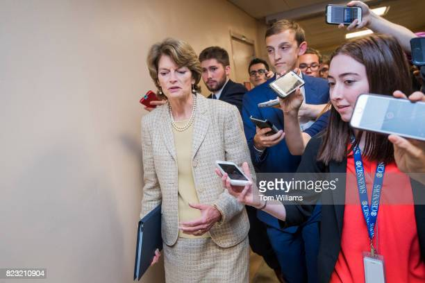 Sen Lisa Murkowski RAlaska talks with reporters in the senate subway before a series of votes in the Capitol related to the healthcare plan on July...