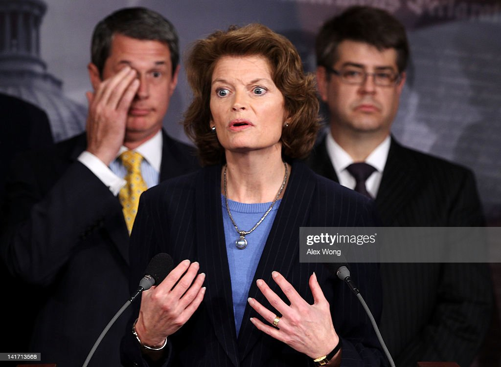 S Sen Lisa Murkowski speaks as Sen David Vitter and Rep Lee Terry listen during a news conference March 22 2012 on Capitol Hill in Washington DC The...