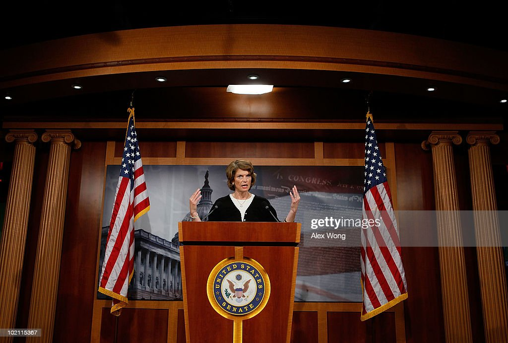 S Sen Lisa Murkowski speaks during a news conference June 15 2010 on Capitol Hill in Washington DC Murkowski spoke on the Oil Spill Compensation Act...