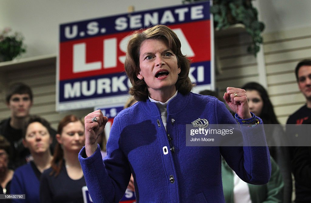 U.S. Sen. <a gi-track='captionPersonalityLinkClicked' href=/galleries/search?phrase=Lisa+Murkowski&family=editorial&specificpeople=3134392 ng-click='$event.stopPropagation()'>Lisa Murkowski</a> (R-AK), speaks to her supporters at her campaign headquarters on November 1, 2010 in Anchorage, Alaska. Defending her Senate seat as a write-in candidate, Murkowski is in a tight three-way race, after losing the Republican primary to Tea Party favorite Joe Miller in August. If Murkowski wins, it would be the first time a write-in candidate has won a Senate seat since Strom Thurmond in 1954.