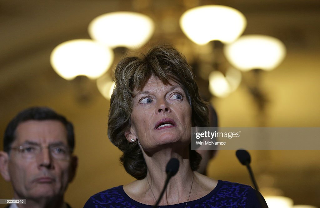 Sen Lisa Murkowski speaks to reporters outside the Senate chamber following a luncheon for Republican members of the Senate January 27 2015 in...