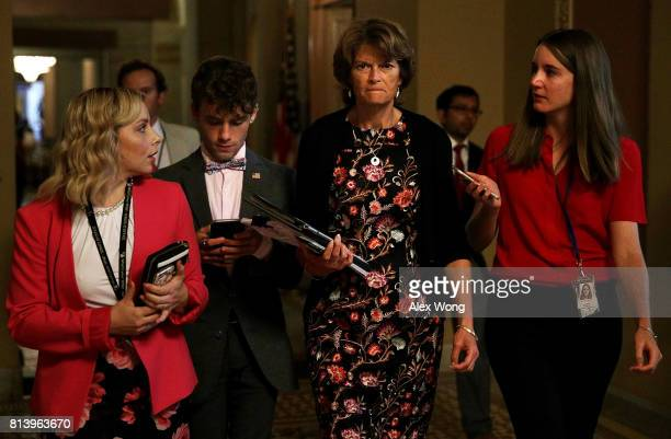 S Sen Lisa Murkowski talks to a reporter after she viewed the details of a new health care bill July 13 2017 at the Capitol in Washington DC Senate...