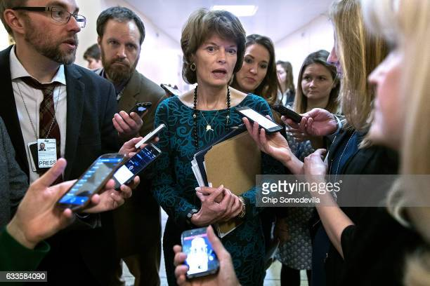 Sen Lisa Murkowski talks with reporters at the US Capitol February 2 2017 in Washington DC Murkowski has joined fellow Sen Susan Collins in saying...