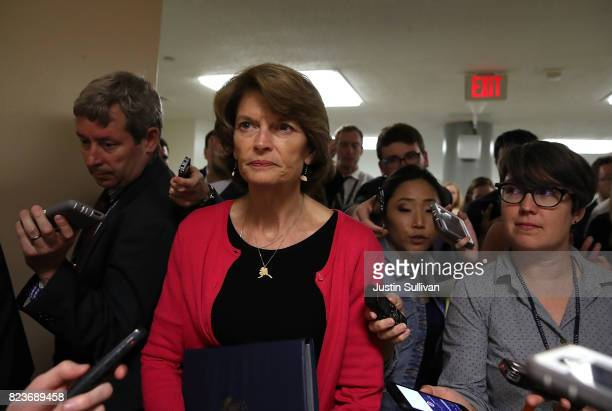 S Sen Lisa Murkowski walks to the US Capitol before allnight voting July 27 2017 in Washington DC Senate Republicans are working to pass a...