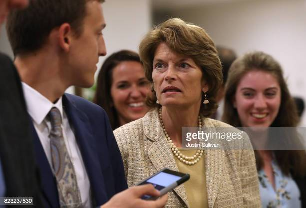 S Sen Lisa Murkowski walks to the US Capitol on July 26 2017 in Washington DC Murkowski is one of nine Republican senators to have voted against the...