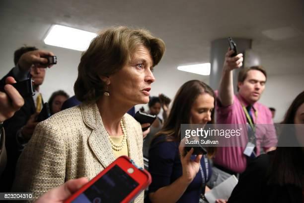 S Sen Lisa Murkowski walks to the US Capitol on July 26 2017 in Washington DC Sen Murkowski was one of nine republican senators to vote against the...