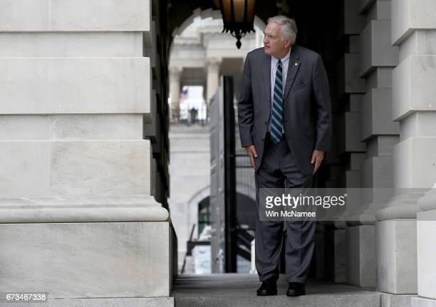 Sen Luther Strange departs the US Capitol for a briefing on North Korea at the White House April 26 2017 in Washington DC Members of US President...
