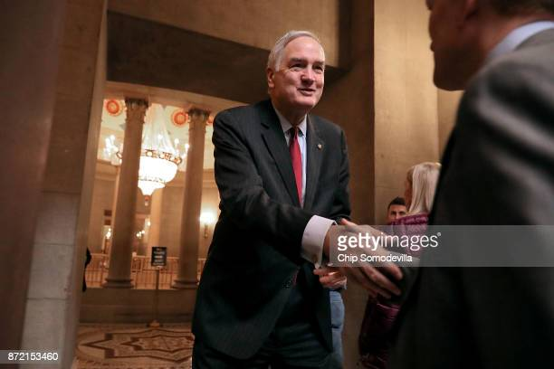 Sen Luther Strange greets Sen James Lankford before heading into a meeting at the US Capitol November 9 2017 in Washington DC Senate Republicans are...