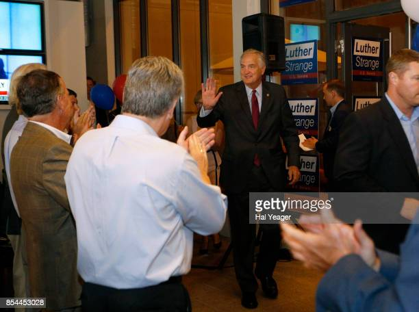 Sen Luther Strange greets supporters as he arrives to make his concession speech after losing to Roy Moore in a GOP runoff election on September 26...