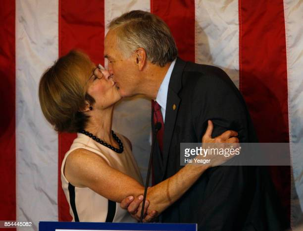 Sen Luther Strange kisses his wife Melissa as he makes his concession speech after losing to Roy Moore in a GOP runoff election on September 26 2017...