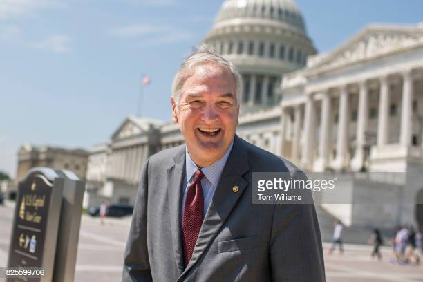 Sen Luther Strange RAla talks with a reporter on the East Front of the Capitol on August 2 2017
