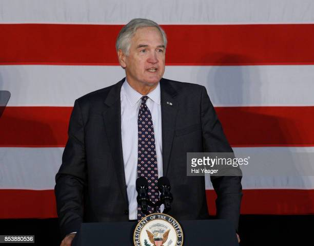 Sen Luther Strange speaks at a campaign rally with Vice President Mike Pence at HealthSouth Aviation on September 25 2017 in Birmingham Alabama...