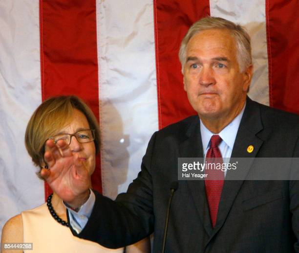 Sen Luther Strange with wife Melissa at his side makes his concession speech after losing to Roy Moore in a GOP runoff election on September 26 2017...