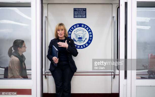 Sen Maggie Hassan DNH boards the Dirksen/Hart subway in the Capitol on Tuesday Nov 14 2017