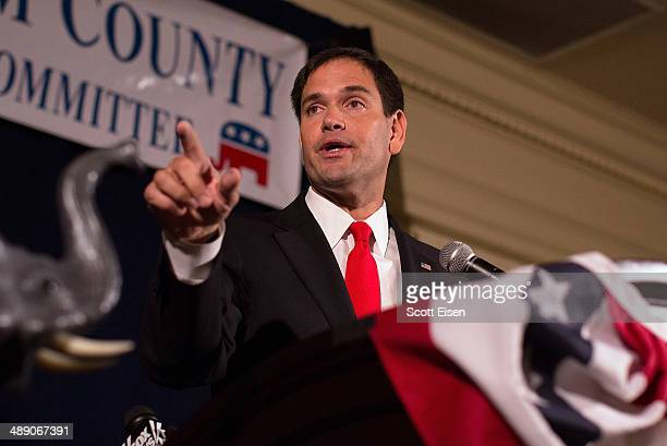 S Sen Marco Rubio addresses the New Hampshire Rockingham Committee Freed Founder's Dinner on May 9 2014 in New Castle New Hampshire Rubio visited the...