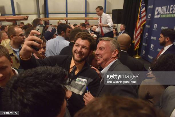 Sen Marco Rubio background rallies for VA GOP candidate Ed Gillespie at the Inspiration Plumbing Company on Monday October 30 in Sterling VA...