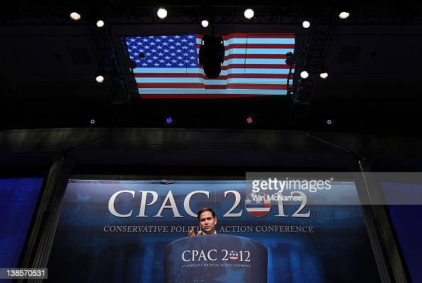 Sen Marco Rubio delivers a speech titled 'Is America Still an Exceptional Nation' during the annual Conservative Political Action Conference February...