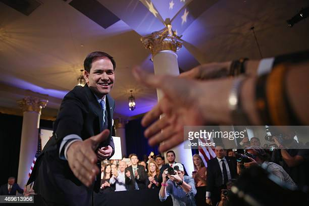 S Sen Marco Rubio greets people after anounncing his candidacy for the Republican presidential nomination during an event at the Freedom Tower on...