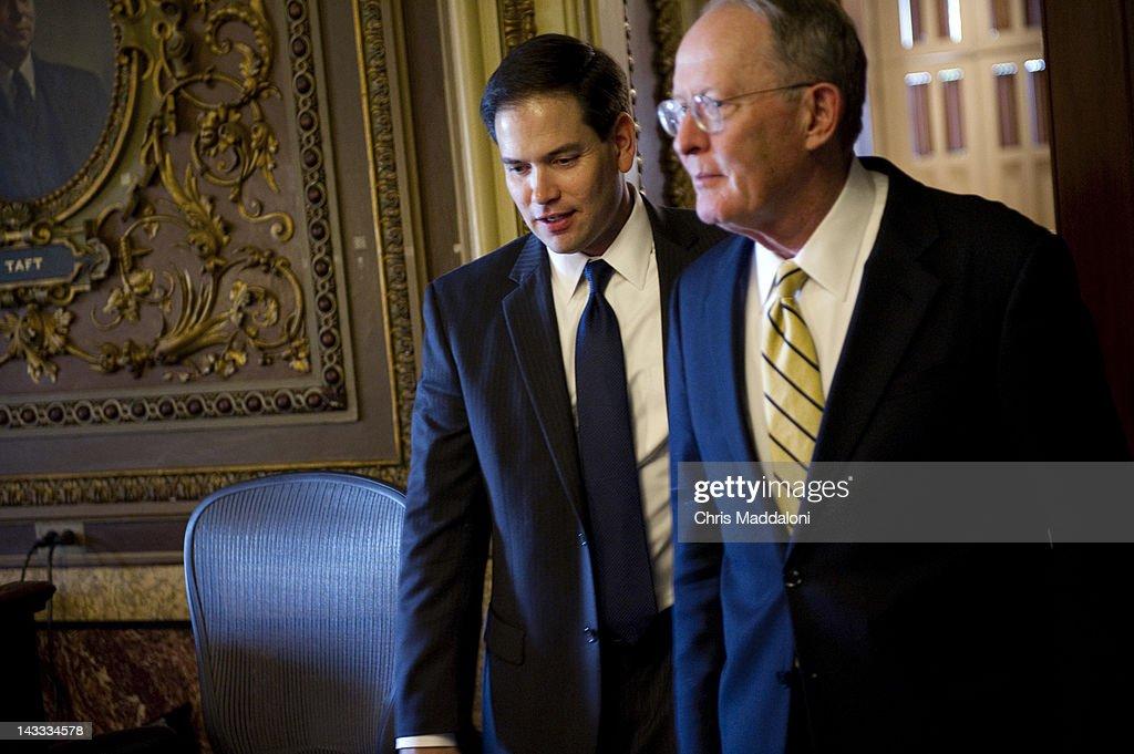 Sen. Marco Rubio, R-Fl., and Sen. Lamar Alexander, R-Tn., at the weekly Senate policy luncheons.