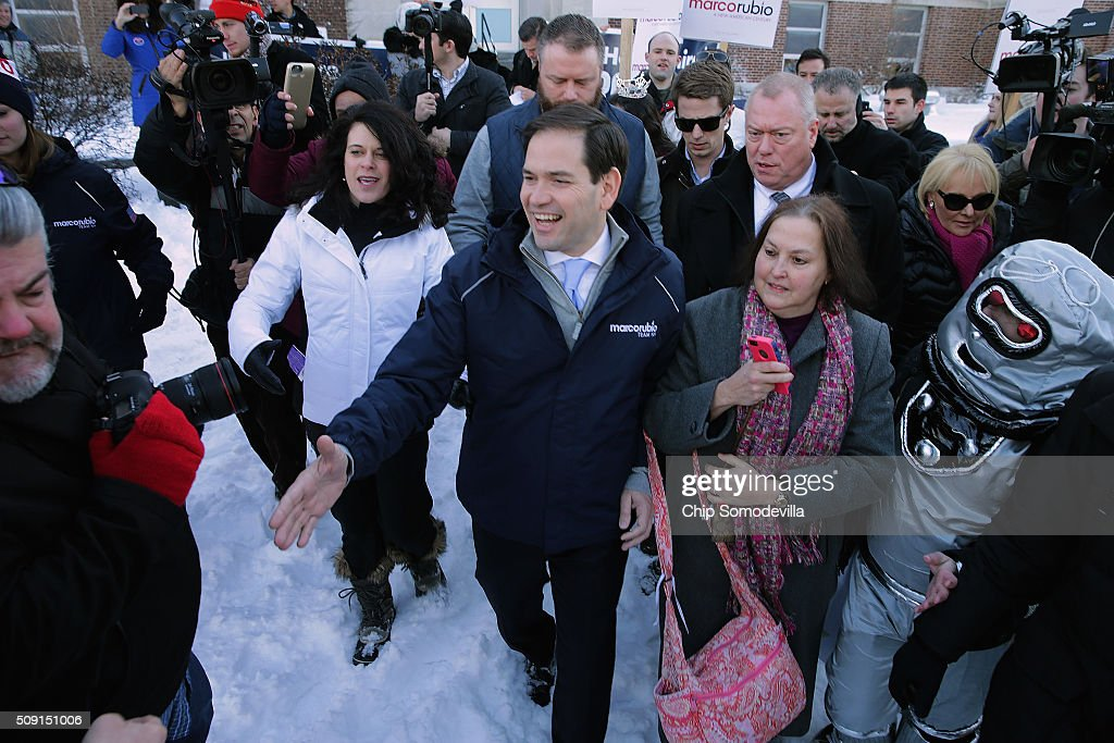 Sen. <a gi-track='captionPersonalityLinkClicked' href=/galleries/search?phrase=Marco+Rubio+-+Politico&family=editorial&specificpeople=11395287 ng-click='$event.stopPropagation()'>Marco Rubio</a> (R-FL) shakes hands while thanking supporters outside the polling place at Webster School February 9, 2016 in Manchester, New Hampshire. With a good showing in the Iowa caucuses, Rubio has stepped into the crosshairs of fellow Republicans running for president and super PACs that want to slow his momentum with attacks on what they call his robotic and repetative messaging.