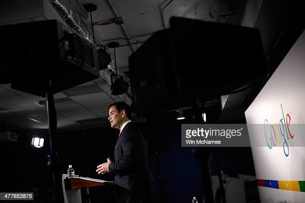 S Sen Marco Rubio speaks at Google's office while delivering a speech to the Jack Kemp Foundation March 10 2014 in Washington DC Rubio discussed Ònew...