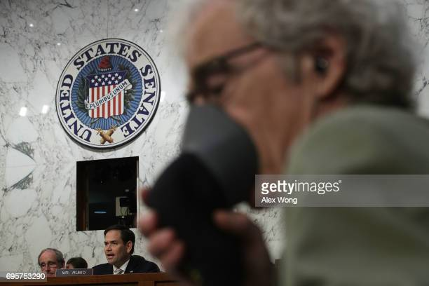S Sen Marco Rubio speaks during a hearing before the Senate Intelligence Committee June 13 2017 in Washington DC Attorney General Jeff Sessions was...