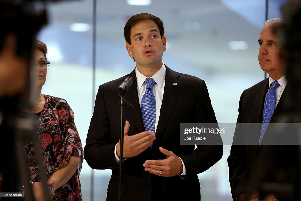 Sen. Marco Rubio (R-FL) speaks to the media about the state of Floridas Ebola preparedness during a visit to the Miami International Airport on October 16, 2014 in Miami, Florida. Rubio expressed his concerns about the spreading of the Ebola virus and the need for adequate prevention.