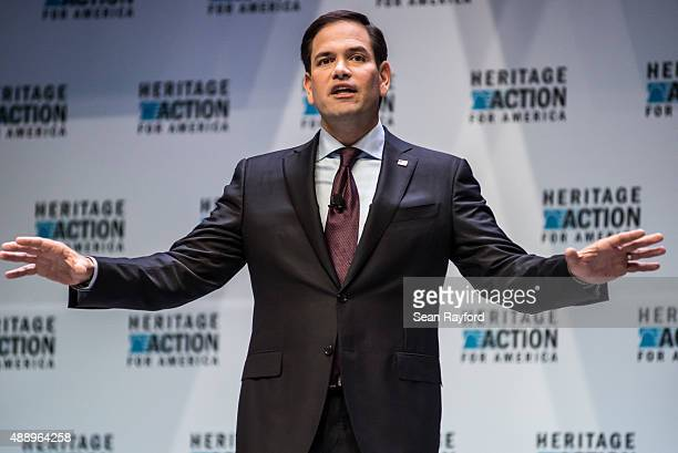 Sen Marco Rubio speaks to voters at the Heritage Action Presidential Candidate Forum September 18 2015 in Greenville South Carolina Eleven republican...