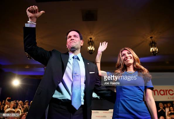 S Sen Marco Rubio stands with his wife Jeanette Rubio after announcing his candidacy for the Republican presidential nomination during an event at...
