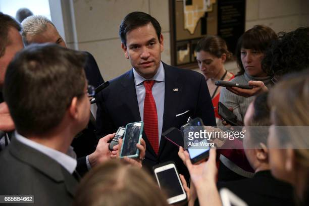 S Sen Marco Rubio talks to members of the media as he leaves after a closed briefing on the airstrikes against Syria by Chairman of the Joint Chiefs...