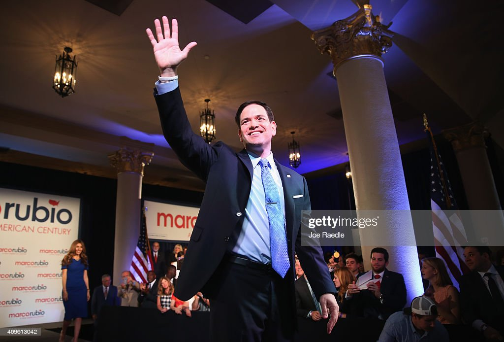 U.S. Sen. <a gi-track='captionPersonalityLinkClicked' href=/galleries/search?phrase=Marco+Rubio+-+Politico&family=editorial&specificpeople=11395287 ng-click='$event.stopPropagation()'>Marco Rubio</a> (R-FL) waves to supporters after announcing his candidacy for the Republican presidential nomination during an event at the Freedom Tower on April 13, 2015 in Miami, Florida. Rubio is one of three Republican candidates to announce their plans on running against the Democratic challenger for the White House.