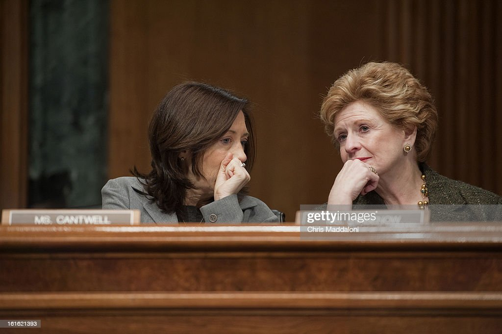 Sen. Maria Cantwell, D-Wa., and Sen. Debbie Stabenow, D-Mich., speak at the Senate Finance Committee hearing on the nomination of former White House Chief of Staff Jacob Lew to be Treasury secretary.
