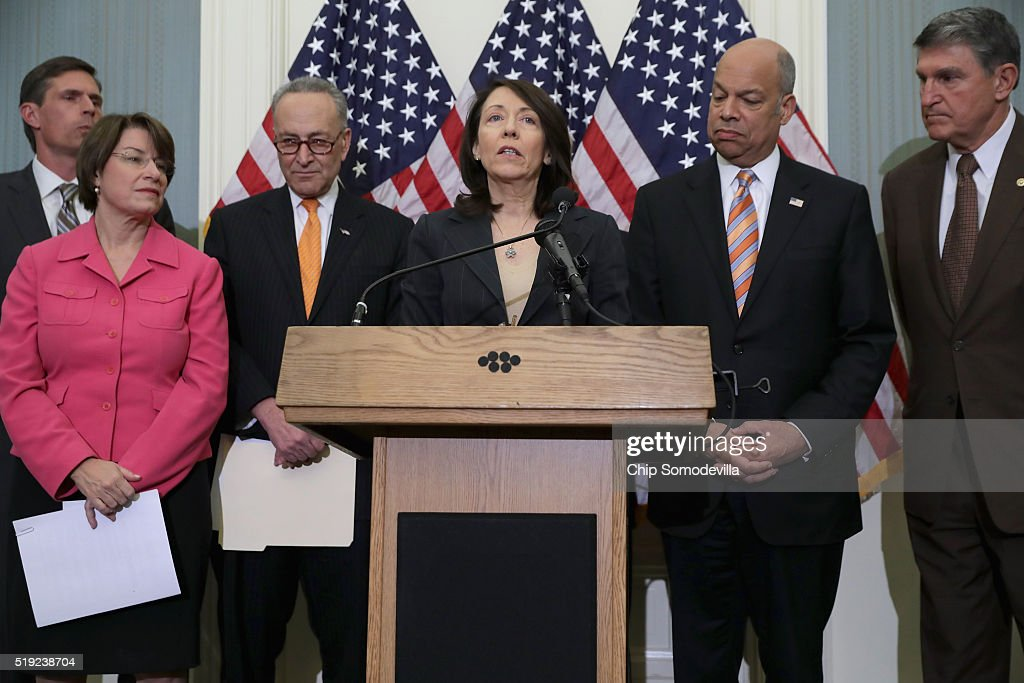 U.S. Sen. <a gi-track='captionPersonalityLinkClicked' href=/galleries/search?phrase=Maria+Cantwell&family=editorial&specificpeople=552125 ng-click='$event.stopPropagation()'>Maria Cantwell</a> (D-WA) (C) is joined by (L-R) Sens. <a gi-track='captionPersonalityLinkClicked' href=/galleries/search?phrase=Martin+Heinrich&family=editorial&specificpeople=5592274 ng-click='$event.stopPropagation()'>Martin Heinrich</a> (D-NM), <a gi-track='captionPersonalityLinkClicked' href=/galleries/search?phrase=Amy+Klobuchar&family=editorial&specificpeople=3959717 ng-click='$event.stopPropagation()'>Amy Klobuchar</a> (D-MN) and <a gi-track='captionPersonalityLinkClicked' href=/galleries/search?phrase=Charles+Schumer&family=editorial&specificpeople=171249 ng-click='$event.stopPropagation()'>Charles Schumer</a> (D-NY), Homeland Security Secretary <a gi-track='captionPersonalityLinkClicked' href=/galleries/search?phrase=Jeh+Johnson&family=editorial&specificpeople=5862084 ng-click='$event.stopPropagation()'>Jeh Johnson</a>, and Sen. <a gi-track='captionPersonalityLinkClicked' href=/galleries/search?phrase=Joe+Manchin&family=editorial&specificpeople=568465 ng-click='$event.stopPropagation()'>Joe Manchin</a> (D-WV) during a news conference to call for additional airport security measures at the U.S. Capitol April 5, 2016 in Washington, DC. In the wake of last month's suicide bombings in Brussels, Johnson said he supports amendments proposed buy Democratic senators to step up security measures in the Federal Aviation Administration Reauthorization bill.