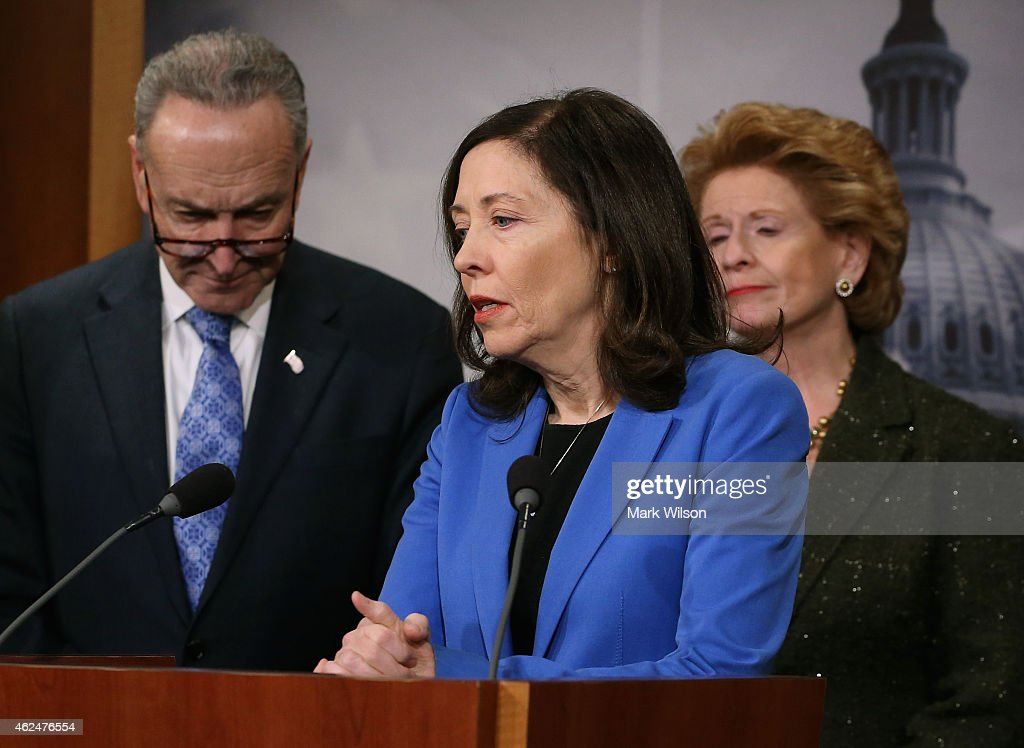 Sen Maria Cantwell speaks about the Keystone XL Pipeline while flanked by Sen Chuck Schumer and Sen Debbie Stabenow during a news conference on...