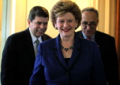 US Sen Mark Begich Sen Debbie Stabenow and Sen Charles Schumer arrive at a news conference December 5 2012 on Capitol Hill in Washington DC The...