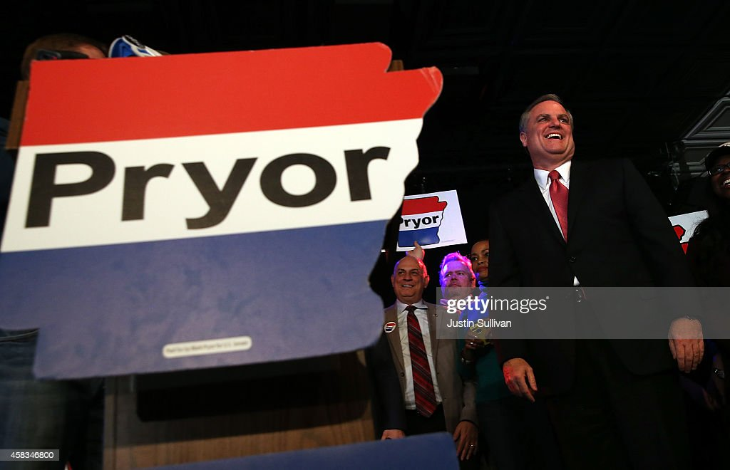 U.S. Sen. <a gi-track='captionPersonalityLinkClicked' href=/galleries/search?phrase=Mark+Pryor&family=editorial&specificpeople=788037 ng-click='$event.stopPropagation()'>Mark Pryor</a> (D-AR) speaks to supporters during an election eve supporter rally on November 3, 2014 in Little Rock, Arkansas. With one day to go before election day, U.S. Sen. <a gi-track='captionPersonalityLinkClicked' href=/galleries/search?phrase=Mark+Pryor&family=editorial&specificpeople=788037 ng-click='$event.stopPropagation()'>Mark Pryor</a> (D-AR) is trailing Republican candidate for senate, U.S. Rep. Tom Cotton (R-AR).