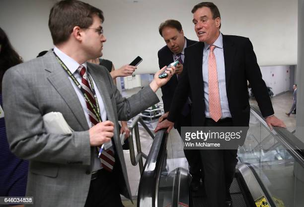 Sen Mark Warner arrives for the confirmation vote of Wilbur Ross for the position of Secretary of Commerce at the US Capitol on February 27 2017 in...